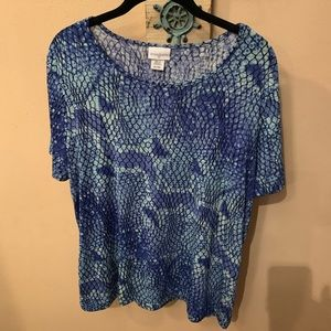 3 FOR $15 Blue Snakeskin Print Top